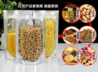 Wholesale Dry Fruits - 100pcs lot free shipping 10*15+3cm High quality one side transparent ziplock bags for dry fruit,stand up pouch