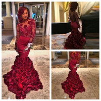 Wholesale Floral Carpet Roses - 2016 Sexy 3D Rose Floral Mermaid Evening Dresses Petal Power Lace Long Sleeves Prom Gowns Arabic Women Burgundy Natural Slim Formal Wear