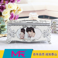 Wholesale 3d Photo Frame Designs - Tissue box with photo frame Alhambresque 3D diamante embroidered photo book paint printed eco - friendly material with design embroided