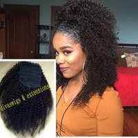 Wholesale natural hair ponytail piece - 160g African american jet black Afro Puff 3c Kinky Curly drawstring ponytails human hair extension pony tail hair piece