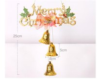 Wholesale Christmas Bells For Sale - 2016 Hot Sale Merry Christmas Bells 20cm Letter Card Flower Pendant Wholesale Hanging Decoration For Home Navidad New Year Free Shipping