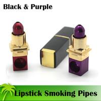 Wholesale smoked purple lipstick resale online - Original Smoking Pipes Lipstick Smoking Pipes Tobacco Metal Pipes Red Purple Mini Smoking Pipes Fast Shipping