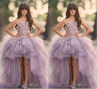 Wholesale Tulle Lavender Flower Girl Dresses - Lavender High Low Girls Pageant Dresses Puffy Lace Applique Princess Flower Girl Dresses For Wedding Handmade Flowers Kids Communion Gowns