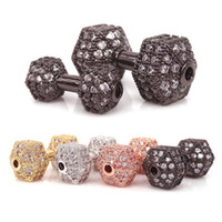 Wholesale Gold Plated Barbell - Micro Pave cz crystal Fitness Dumbbell Beads For Men's Energy Barbell Bracelet Making,Silver Gold RoseGold Black Plated Barbell Charms Beads