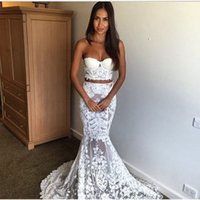 Wholesale Red Sweetheart Crop Top - Sexy See Through White Two Piece Prom Dress Crop Top Sweetheart Lace Mermaid Evening Dress Party Dress