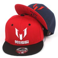 Wholesale Children Hip Hop Hat - 1PC New Arrival Kids Soccer MESSI Embroidery Cotton Snapback Caps Hip Hop Hats Boys&Girls Children Cartoon Baseball Cap Sun Hat Bone