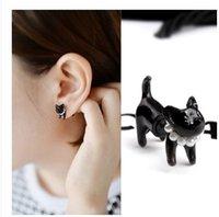 ingrosso orecchini piercing neri-Harajuku Cute Cat Pearl necklace Stud orecchino animale Puncture Ear bracciale piercing nero per le donne gioielli punk