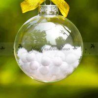 "Wholesale Solid Acrylic Ornaments - Wedding Bauble Ornaments Christmas Xmas Glass Balls Decoration 80mm Christmas Balls Clear Glass balls 3""   80mm Christmas Ornaments Z450"