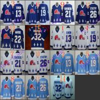 Wholesale El Lights - Cord NHL Quebec Nordiques #19 Joe Sakic 21 Forsberg 26 Stastny 13 Sundin 32 BROUSSEAU White Drak Light Blue Hockey Jersey Stitched Mix Order