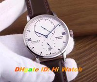 Wholesale Brown Indicator - Super Clone Luxury Brand 42mm NOMOS Glashutte LAMBDA Power Reserve Indicator Gangreserve 84 Stunden White Dial Mens Watch Leather NM10A