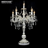 Wholesale Crystal Table Lamp Vintage - Vintage Silver color Table light Luxurious Clear crystal desk lamp with Wedding Candelabra for Hotel Restaurant Bedroom lighting
