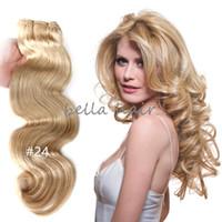 Wholesale Malaysian Body Wave 2pcs - Brazilian Human Hair 14-24inch 2pcs lot Indian Malaysian Peruvian Hair WWeft Weave Body Wave Hair Extension 100g p Free Shipping Bella Hair