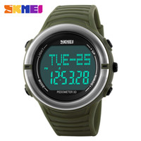 Wholesale Heart Battery Monitor - Original SKMEI 1111 Men's Sport LED Digital Waterproof Multifunction pedometer Heart Rate Monitor Alarm Chronograph Wrist watch