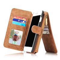 billetera iphone zip al por mayor-CaseMe Luxury Desmontable 2 en 1 Funda de cremallera con cremallera Funda de cuero Funda para Iphone 7 Iphone 7 Plus 6 6S Plus 5 5S 5SE envío gratis