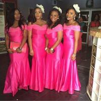 modische afrikanische kleider großhandel-Modische Afrikanische Schulterfrei Satin Meerjungfrau Brautjungfer Kleider Lange Hochzeit Abendkleider Spitze Formelle Gelegenheit Abendkleidung