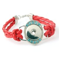 Wholesale Hand Model Bracelet - Rhinestone New models hand-woven leather cord bracelet child NOOSA personalized DIY popular snap button bracelets
