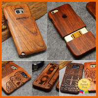 Wholesale Natural Leather Wallet - 100% Natural Wooden Wood Bamboo Phone Case For Samsung Note3 Note4 Note5 Galaxy S4 S5 S6 S7 Edge