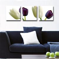 pintura peonies aceite al por mayor-Decoración del hogar sin enmarcar 3 piezas de imagen del arte envío gratis Impresiones en lona tulipanes Pintura abstracta del árbol de pintura al óleo Bosquejo peonía flor