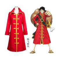 Wholesale One Piece Luffy Costume - Japanese Anime Costume ONE PIECE Cosplay Monkey D. Luffy Costume Red Cloak for Men and Women