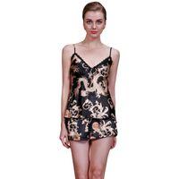 Wholesale- Summer Women Sexy Satin Silk V-neck Lace Pyjamas Sleepwear  Pajamas Tops Pants Sets VM c3a0f84fa