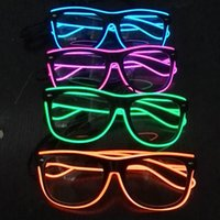 Moda EL Wire Led Neon Glasses LED Party Lighting Glasses para Xmas Birthday Halloween Neon Party Bar Costume Decor Supplies