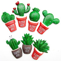 Wholesale Resin 3d Fridge Magnets - 7pcs High Quality Resin Cartoon 3D simulation Cactus series Fridge Magnet Creative Refrigerator Magnetic Stickers Home Decoration