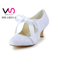 Wholesale Satin Wedding Shoes Wedge - 2016 Vintage Style 8cm Heel Pump Elegant Style Bridal Shoes Wedding Dress Shoes Handmade Shoes for Wedding From Size35-42 Free Shipping