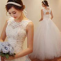 Wholesale Korean Wedding Dresses Red - Korean Slim Tulle Bridal Wedding Dress New Romantic Custom Made Vintage Jewel Floor-Length Applique Beadings Wedding Vestidos Bridal Dress
