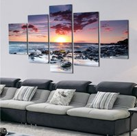 Wholesale sunset sea - 5 Piece Wall Art Canvas Sunset Sea Wall Art Picture Canvas Oil Painting Home Decor Wall Pictures for Living Room No Framed