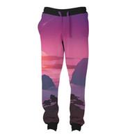 Wholesale Sunset Pants - REAL USA SIZE mountain sunset 3D Sublimation Print String Jogger   Harem Pants -plus size
