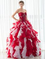Enveloppement Rouge Foncé Pas Cher-Pas cher En stock Dark Red Quinceanera Robes Crystals robe de bal Robes Doux 16 Robe Tulle Haute Quanlity Vestidos 15 Party Prom Robes
