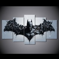 Wholesale Batman Movie Poster - 5 Panel HD Printed Movie characters Batman Painting Canvas Print room decor print poster picture canvas Free shipping