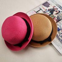 Wholesale Solid Straw Hats Caps - Wholesale- Panama Girls Sun Hat Summer Floral Cap Female Winter Straw Hat Bow Flat Top Beach Sun Visor Hat Capeline Chapeaux Femme Sombrero