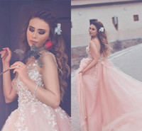 Wholesale Long Sweet Sixteen Dresses - 2018 New Blush Pink Tulle Fluffy Prom Dresses V Neck Sheer Straps White Appliques Backless Ball Gown Evening Dresses Sweet Sixteen Dresses