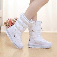 Wholesale Shoes Ladies Colour - 2016 new winter high women boots plush warm lady shoe plus size 36 to 40 easy wear zipper up girl white colour flower snow boots 16091901