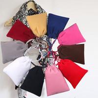 Wholesale Wholesale Black Velvet Fabric - velvet drawstring bags high quanlity Gift bags Flocked Jewelry bag Jewelry pouches Headphone bags velvet Favor Holders