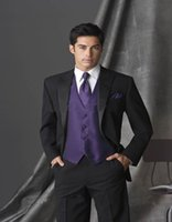 Wholesale Tailored Suits For Men Purple - Wholesale-Custom Made Groom Tuxedo Bespoke Peak Lapel Black Suits With Violet Purple Vest Tailor Made Black Wedding Suits For Men 3 Pieces