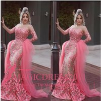 Wholesale Dress Detachable Skirt Sleeves - Pink Prom Dresses Formal Evening Gowns Detachable Skirt Arabic 2016 Special Occasion Dress Mermaid Illusion Bodice Long Sleeve Celebrity