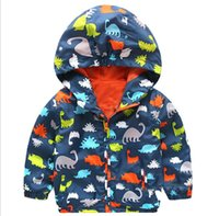Wholesale Polyester Kids Outwears - spring autumn boy outwear outfit Hoodies Dinosaur design clothing kids jacket children Cardigan tench coats 2-7 years 1pc pack CQZ024
