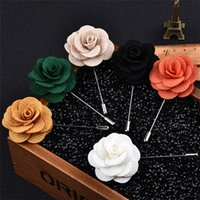 17 Color Men Camellia Flower Broche Pins Moda Boutonniere Stick Lapel Pin Para Terno Pure Handmade Party Wedding Jewelry Acessórios A149