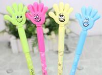 Wholesale Novelty Signs Wholesale - Promotion ! New Arrival Novelty Black Blue dual-use shape gel pen smiling face pat palm pen, school supplies student prizes sign pen, 48 pcs