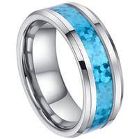 Wholesale Tungsten Green Inlay - 8mm - Man or Ladies - Tungsten Carbide Beveled Edge Hawaiian Blue Opal Inlay Wedding Band Ring
