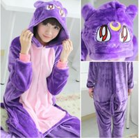 Wholesale Purple Cat Kigurumi Pajamas Animal Suits Cosplay Outfit Halloween Costume Adult Garment Cartoon Jumpsuits Unisex Animal Sleepwear