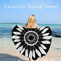 Wholesale Baby Variety - Summer Emoji Fruits Beach Towel Variety Styles Pizza Hamburger Donut Skull Ice Cream Strawberry Polyester Round Beach Shower Towel