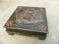 Wholesale cheap Rare China Painting Wood Dragon Phoenix Design Coffee Table
