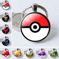 Wholesale I Love Haters Charm - Poe Kehain Poke Ball Glass Cabhon Charm Pendant Key Rig Keyring Team Instinct Mystic Valor Keychains