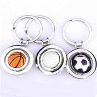 Wholesale Mini Golf Bags Wholesale - Mini Rotatable Basketball Football Golf keychain keyrings key rings metal bag hangs soccer fans fashion jewelry Christams gift 170531