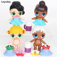 Wholesale Mini Toy Bottles - 4pcs  Set Lol Surprise Doll With Bottle Drink Vinyl Doll Toy Dress Up Anime Kids Toys For Gifts