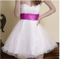 Wholesale Sweetheart Ruched Fold Prom Dress - 2016 New Strapless Sweetheart Homecoming Dresses Skirt Mesh Belt Fold Mini Party Dress Elegant Prom Canonicals Plue Size