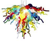 moderno salón de araña al por mayor-Moderno Colorido lámpara de cristal de Murano Sala Dormitorio Decoración soplado a mano de cristal LED Blubs lámparas pendientes de venta